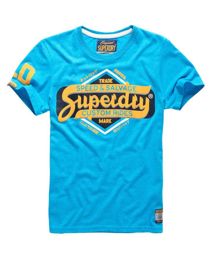 Mens - Tin Tab T-shirt in Fluro Blue Jaspe | Superdry