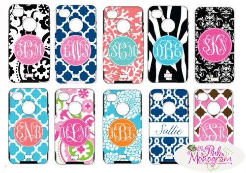 Monogrammed Otterbox Cases For iPhone 5, iPhone 4, 4S, Samsung Galaxy 3,Motorola Razor, HTC Evo, , Blackberry 9800