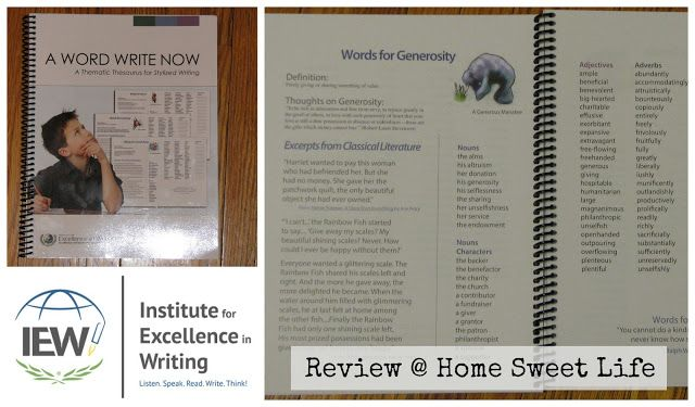 Home Sweet Life Blog ~ Each word in this thematic thesaurus is given a two-page layout and includes not only similar words, but also includes  the definition, thoughts about the word, and experts from Classic literature to remind the student of how the words have been previously used. Under Words for Generosity, you'll find an excerpt from The Rainbow Fish - where he gives away his glittering scales. There are nouns, adjectives, adverbs, and verbs that all relate to generosity.