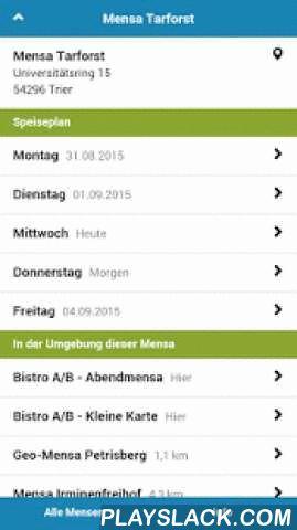 Mensa Trier  Android App - playslack.com , Dein Mensaplan für Trier.Die Mensa App liefert Dir die Speisepläne für den Campus folgender Hochschulen und Universitäten:FACHHOCHSCHULE TRIER* Cafeteria Schneidershof* Mensa Irminenfreihof* Mensa SchneidershofUNIVERSITÄT TRIER* Bistro A/B - Abendmensa* Bistro A/B - Kleine Karte* Geo-Mensa Petrisberg* Mensa TarforstDie App bietet diese Funktionen:IMMER AKTUELLWir überwachen die Speisepläne der Mensen in Trier regelmäßig. Alle Änderungen werden fix…