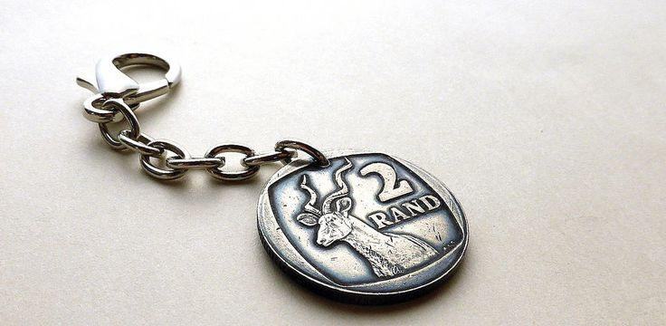 Purse charm, South African, Coin charm, Vintage charm, African, Tribal, Jungle, Keychain, Animal charm, Greater Kudu, Charms, Coins, 1991 by CoinStories on Etsy