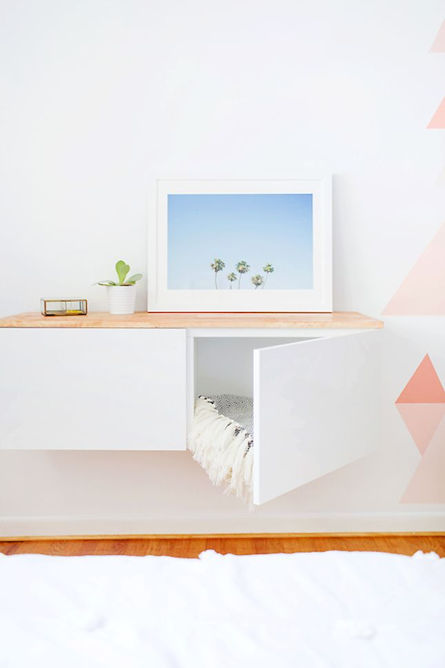 Mount a dresser to make a floating credenza with this IKEA hack.