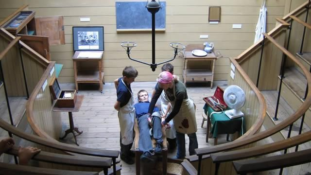 A demonstration of Victorian surgery techniques at the Old Operating Theatre