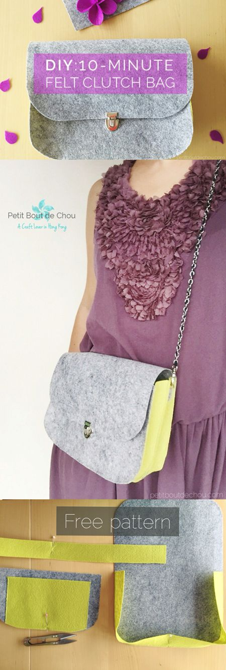 Make this elegant felt clutch bag in 10 minutes by following this step by step tutorial with free sewing pattern to download.