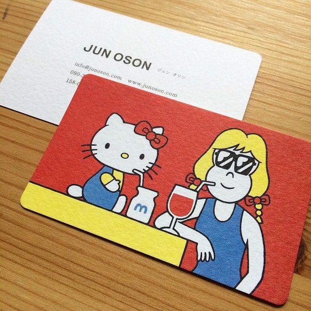 新しい名刺が届いた!モデラトーンというけっこう凹凸ある紙にしました。  #illustration #イラスト #art #junoson #oson #card