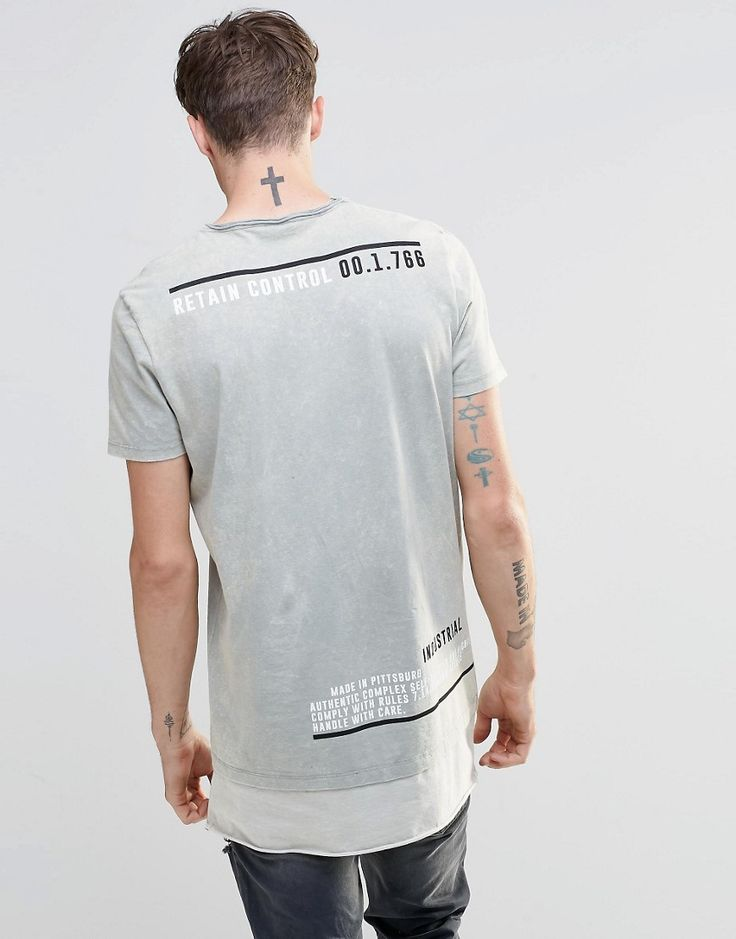 Image 1 of ASOS Super Longline T-Shirt With Tonal Acid Wash And Text Back Print