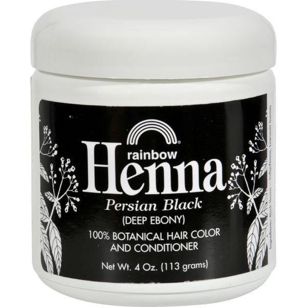 Rainbow Henna 100% Botanical Hair Color and Conditioner - Persian Black Deep Ebony - 4 oz