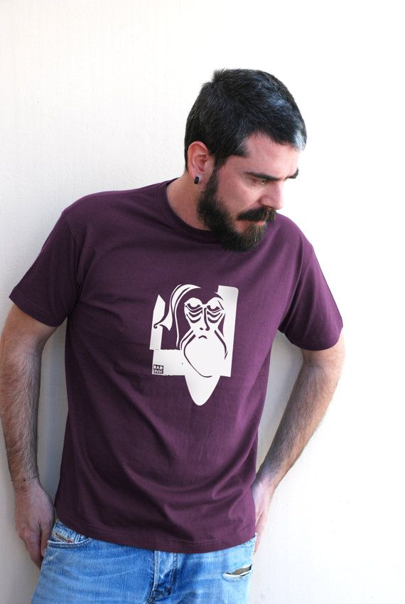 Man in beard on Eggplant color  Men's 100% Organic by theBADINK