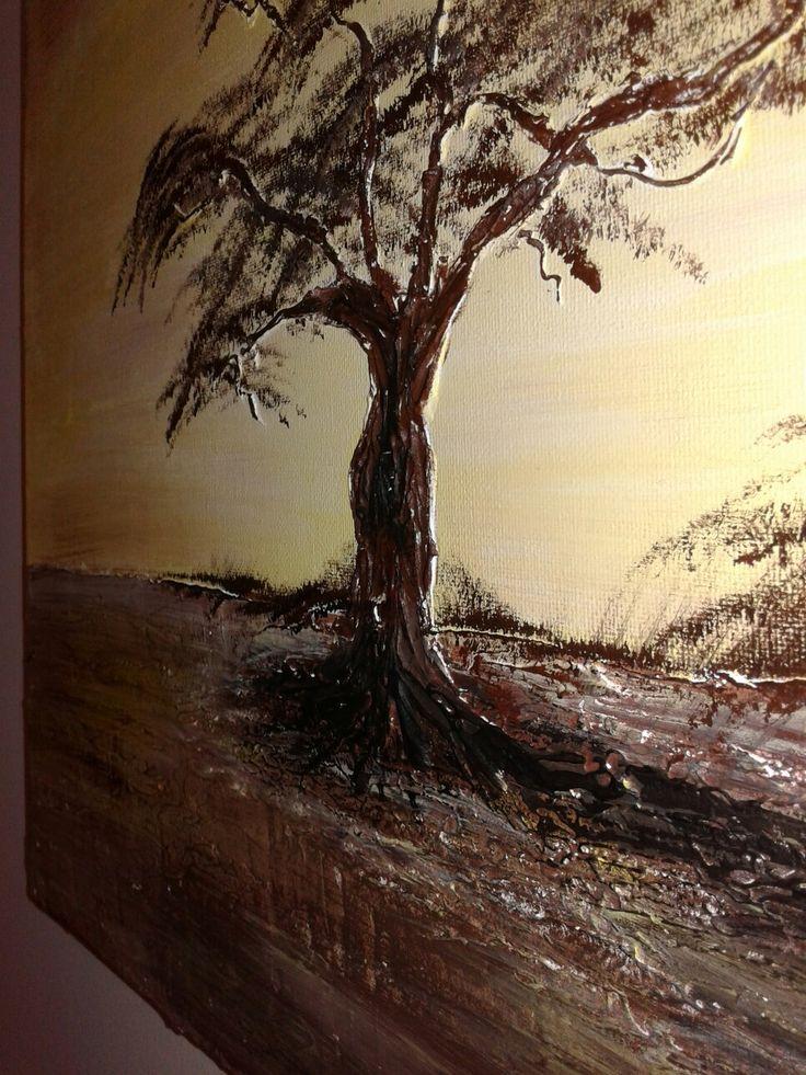 Πίνακας με ζωγραφική σε καμβά με ακρυλικα και πάστα
