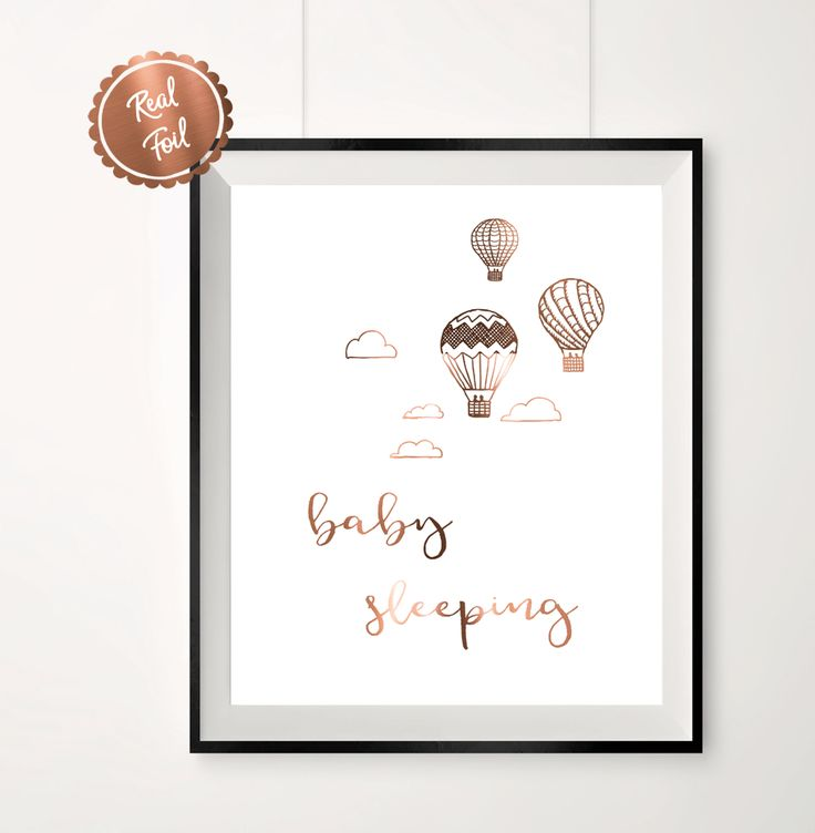 baby sleeping nursery print // Nursery poster // Copper quotes // Copper foil print // Hot air balloons // Clouds  $16.99  www.peppapenny.com