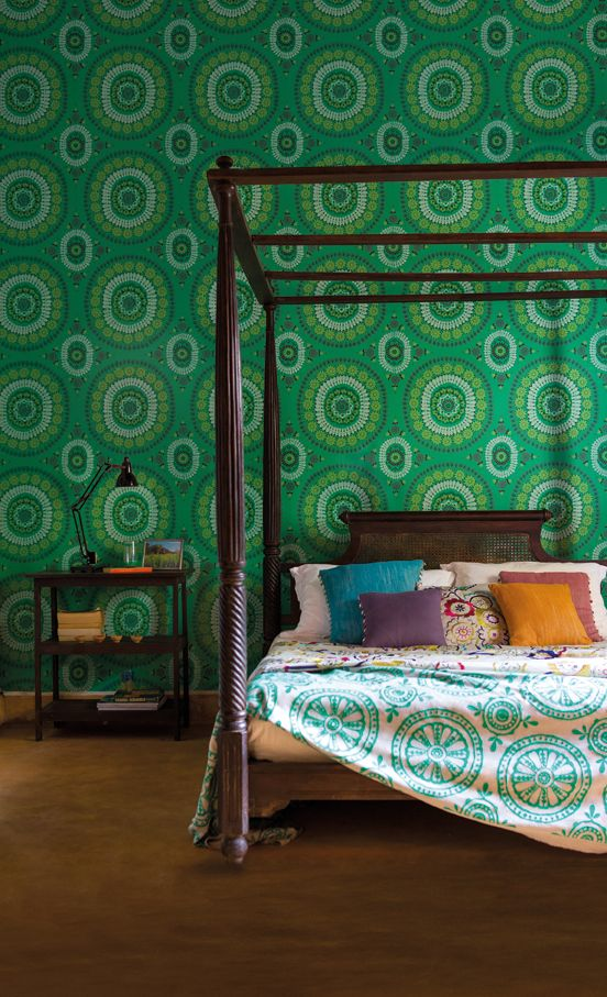 Boheme wallpaper in emerald from the Jardin Boheme collection by Harlequin