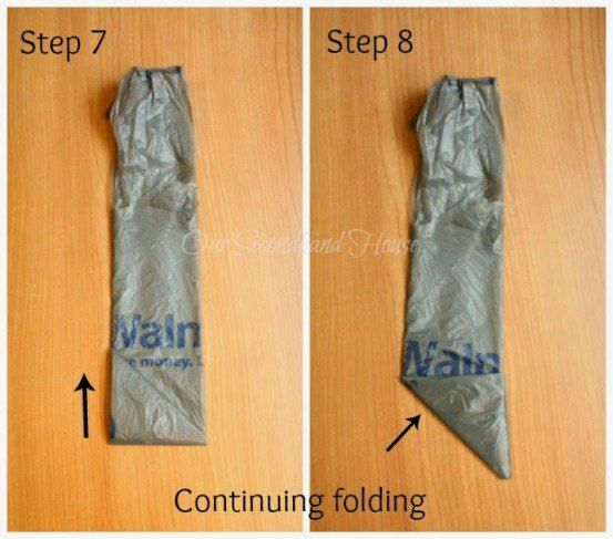 Folding plastic bags. We were skeptical about this storage idea at first, but when we saw the final picture? SOLD!