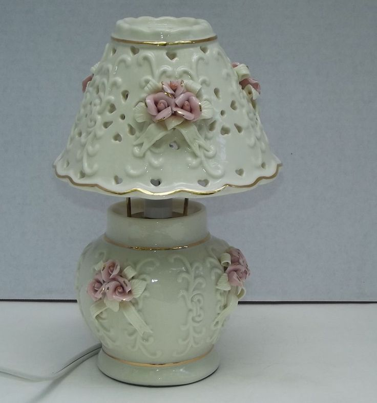 Ceramic Electric Accent Boudoir Table Lamp Raised Pink