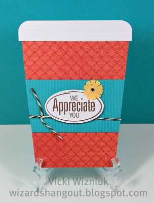 Coffee cup card by Vicki W. - her post also includes directions. I made one of these and did a tutorial a couple of years ago!: Coff Cards, Cards Ideas, Gifts Cards, Cups Cards, Gift Cards, Cards Holders, Houses Make N Tak, Open Houses, Wizards Hangout
