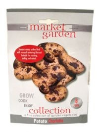 £1.00 - Market Garden Collection Vegetables  POTATO PACK CHARLOTTE  8 ROOTS  -Grow - Cook - Enjoy  A tender, creamy yellow flesh with a mouth watering flavour Suitable for roasting, boiling and salads  HARVEST: June to August  Before planting outside, ensure any danger of frost has passed.