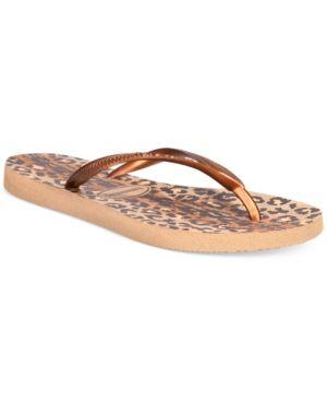 Havaianas Women's Slim Animal Flip Flops - Gold 11/12