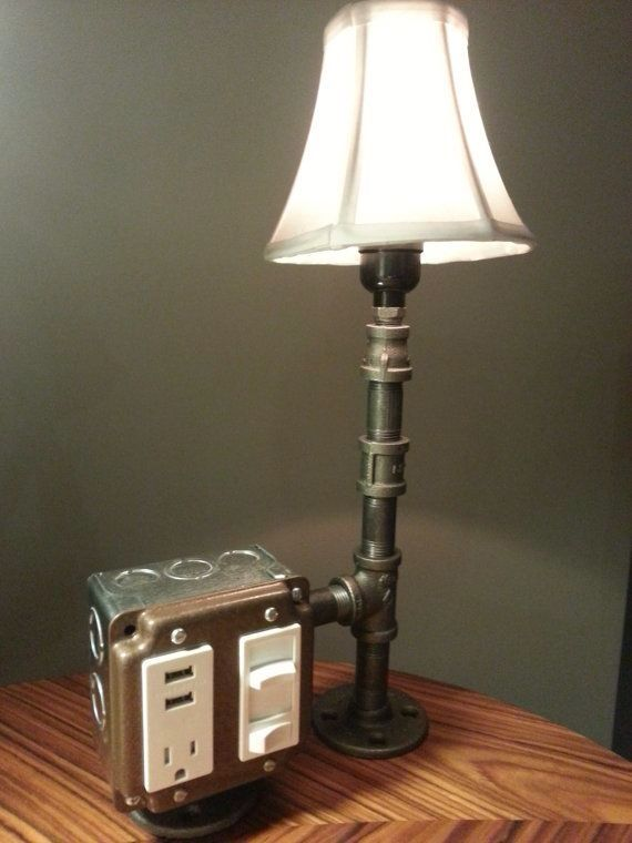 1244 best industrial pipe images on pinterest pipes for Cool bedside table lamps