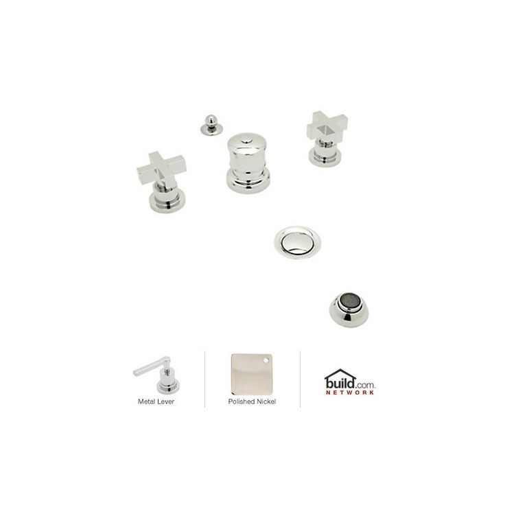 Rohl BA595X Modern Widespread Bidet Faucet with Metal Cross Handles Polished Nickel Faucet Bidet Vertical Spray