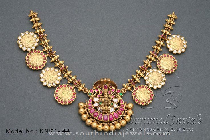 Antique Gold Coin Necklace Designs, Gold Coin Necklace Models, Gold Coin Necklace Collections.