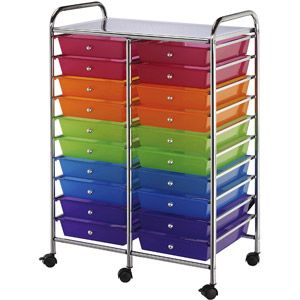 Double Storage Craft Cart with 20 Multicolor Drawers