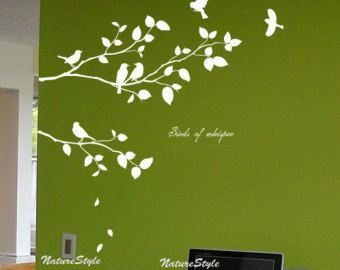 Branch with Flying Birds Vinyl Wall by NatureStyle on Etsy