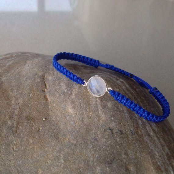 Rainbow Moonstone flashing Blue macrame by keepcalmandbeadon, £12.00