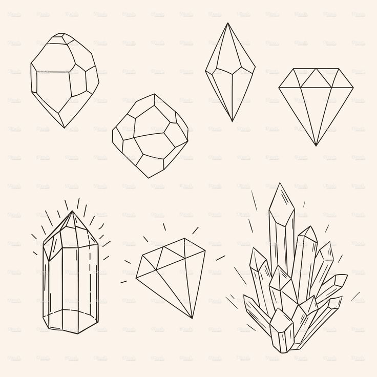 Hand drawn set sketch crystal,diamond and polygonal figure tatto stock vector art 71914669 - iStock