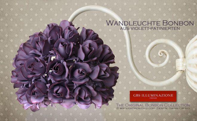 Wandleuchte Bonbon ausviolett-patinierten, kleinen Rosen | Design: Gianni Cresci. Made in Italy