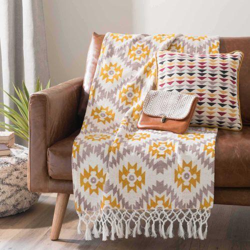 Sofa-Überwurf mit gelben/grauen Motiven 125 x 150 cm GOPSY