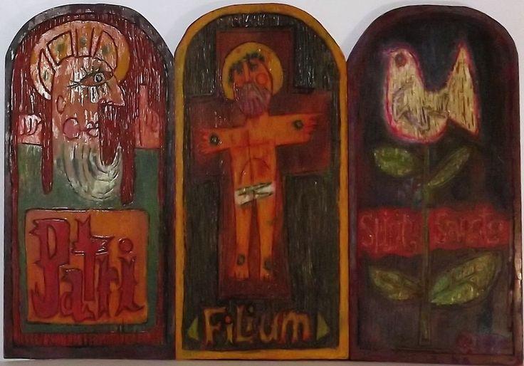 Unique Christian Folk Art Large Carved Wood Panels Father Son Holy Spirit | eBay
