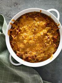 Julie's Noodle Casserole: pasta, ground beef, marinana, cottaage cheese, spinach, cheddar