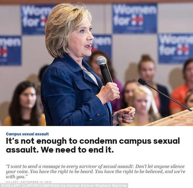 Pledge: Up until January 29, 2016 Hillary Clinton's official website (pictured: a version from that date) featured a quote in which she said rape victims have 'the right to be believed'