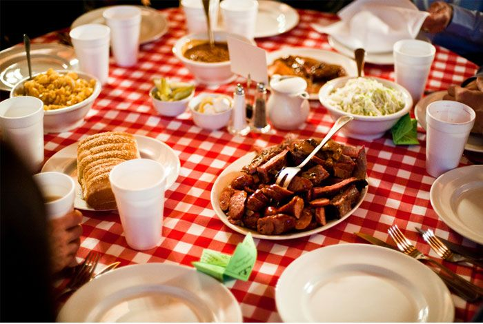 Is it sad/weird- that I knew this was the SALT LICK by its bread choice and sides? OH MY..... Rehearsal dinner - picnic style