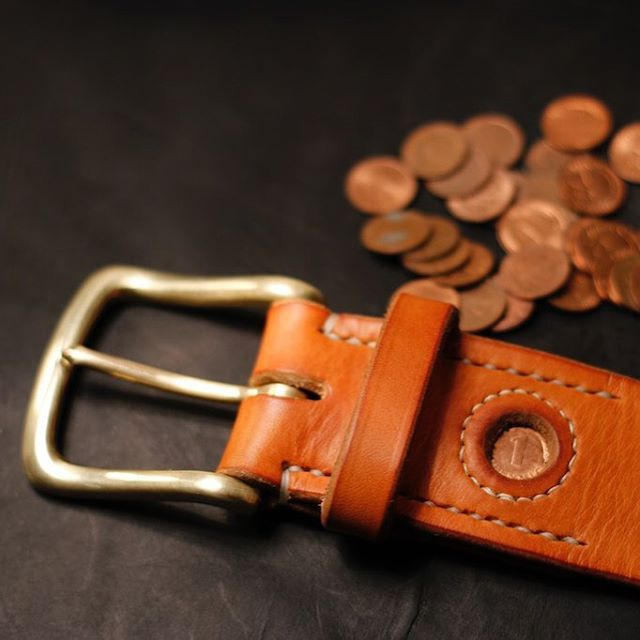 "alexandervonbronewskimanufaktur: "" Lucky Penny Belt - Glückspfennig Gürtel. A Pfennig from 1974 was sewn for good luck in this 45mm belt with a solid english brass buckle and 4,5 thick german briddle leather #luckypenny #glückspfennig #pfennig..."