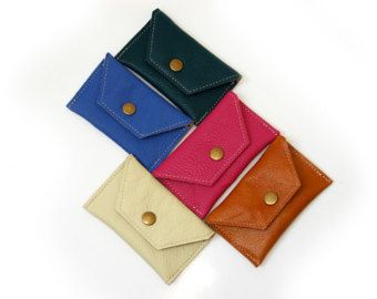 Metalic Pink Business Card Leather Holder Leather by PansyBag