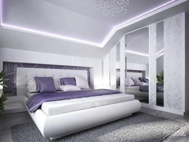 schlafzimmer ideen einrichtung deckengestaltung wei lila dachschrge - Schlafzimmer Lila Wei