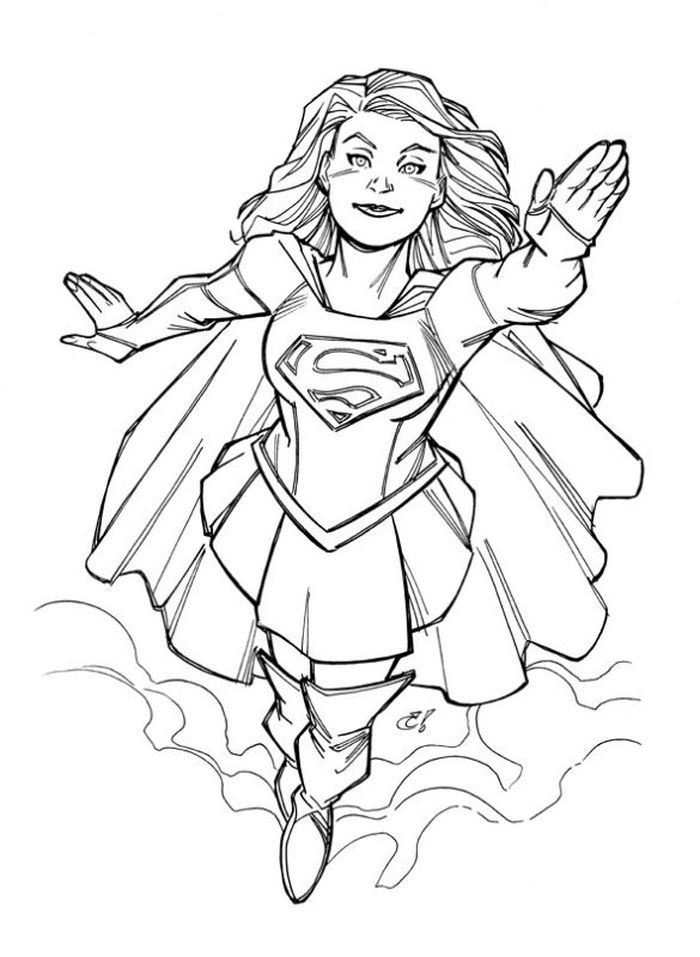 Flash Supergirl Coloring Pages Superhero Coloring Pages Supergirl Supergirl And Flash