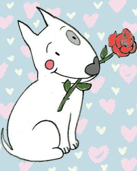 Bull Terrier Ferd holding a rose. Illustration by the Russian artist Daria Khmelevtseva.