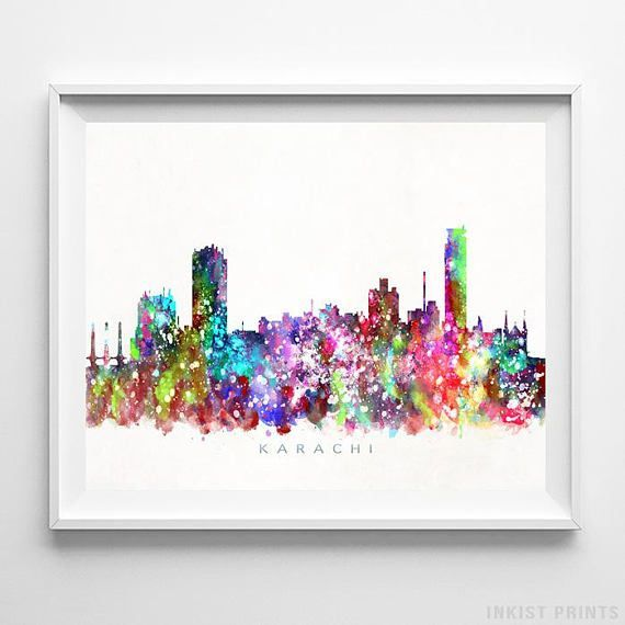 Karachi, Pakistan Watercolor Skyline Wall Art Poster - Prices from $9.95 - Click Photo for Details - #skyline #watercolor #cityscape #bedroomdecor #Karachi #Pakistan