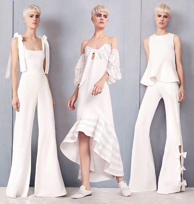 Instagram media by modaoperandi - The magical ways to wow in white 🦄 Click link in bio to PreO @shop_alexis' best-selling #dresses and jumpsuits in #offtheshoulder shapes, with dramatic ruffles and oversize #bow details