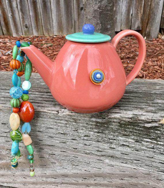 Repurposed Tea Pot Wind Chime  Upcycled Tea Pot Art by mscenna