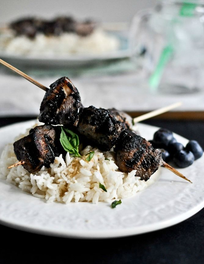 Grilled Blueberry Chicken Skewers with Coconut Rice I howsweeteats.com