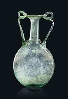 A LARGE ROMAN TWO-HANDLED PILGRIM FLASK CIRCA 4TH CENTURY A.D.