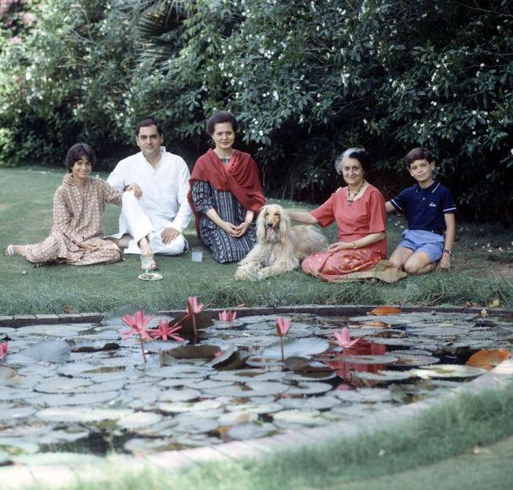 Indira Gandhi with her son Rajiv, daughter-in-law Sonia, grand-children Priyanka 11 yrs old, and Rahul 13 yrs old and her Afghan dog Pippa.