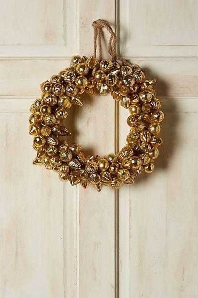 Gilt Mercury Glass Ornament Wreath #anthropologie
