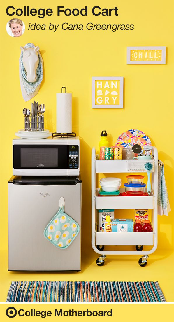 "Mom pinner, Carla Greengrass knows that when your student goes to college, cooking can be a challenge. She makes it easy with a twist on a mobile food cart. ""Stock your student's room with all the kitchen essentials they'll need to fix up some fast and fun meals. Your student can tuck this cute cart next to their mini fridge & microwave."" This pin was made by Moms, for Moms to make sending any student off to college easy, thanks to the On to College Motherboard."