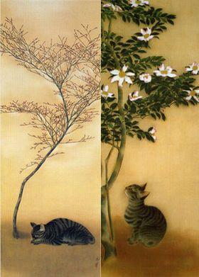 速水御舟(Gyoshū Hayami) photo 「猫(春眠)」「山茶花に猫」