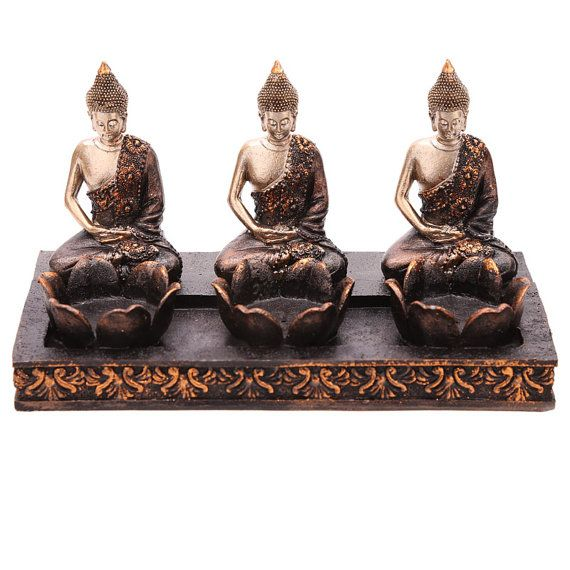 Decorative Thai Buddha Tea Light 3 Candle Holder by getgiftideas