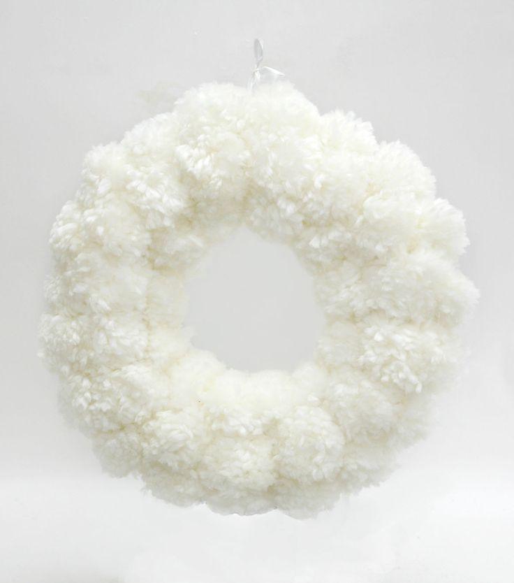 maker 39 s holiday pom pom wreath cream pom pom wreath wreaths and holidays. Black Bedroom Furniture Sets. Home Design Ideas