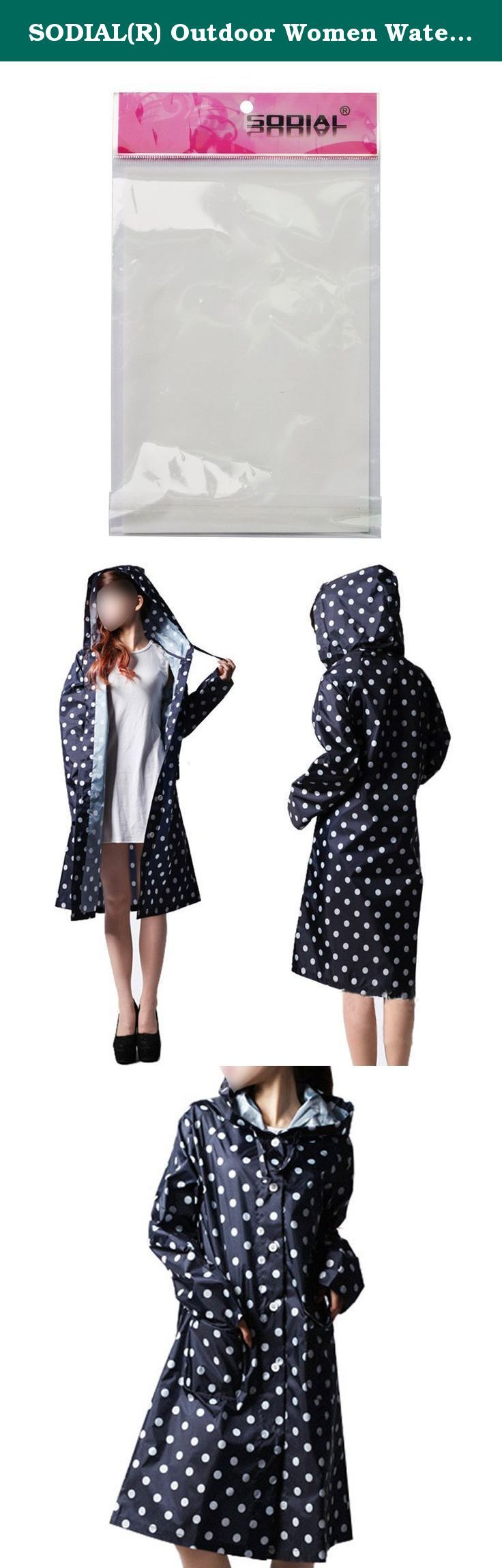 SODIAL(R) Outdoor Women Waterproof Riding Clothes Raincoat Poncho Pocket Polka Dot Hooded Knee Long Rainwear Nylon Navy Blue. * SODIAL is a registered trademark. ONLY Authorized seller of SODIAL can sell under SODIAL listings.Our products will enhance your experience to unparalleled inspiration. SODIAL(R) Outdoor Women Waterproof Riding Clothes Raincoat Poncho Pocket Polka Dot Hooded Knee Long Rainwear Nylon Navy Blue Shoulder: Approx 42cm Sleeve: Approx 70cm Bust: 102cm Waist: 104cm…